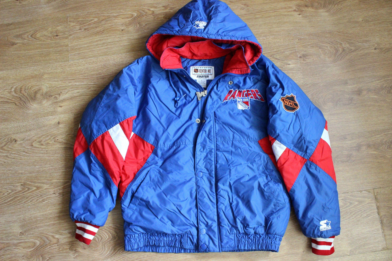 Starter Jacket New York Rangers Nhl Hockey Jacket Red White Blue Mens Sportswear Size S Puffer Coat Winter Outdoor Jacket New York Rangers Outdoor Jacket Mens Sportswear