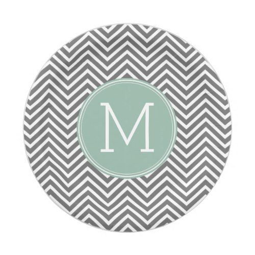 Charcoal and Mint Green Chevrons Custom Monogram Paper Plate  sc 1 st  Pinterest & Charcoal and Mint Green Chevrons Custom Monogram Paper Plate ...