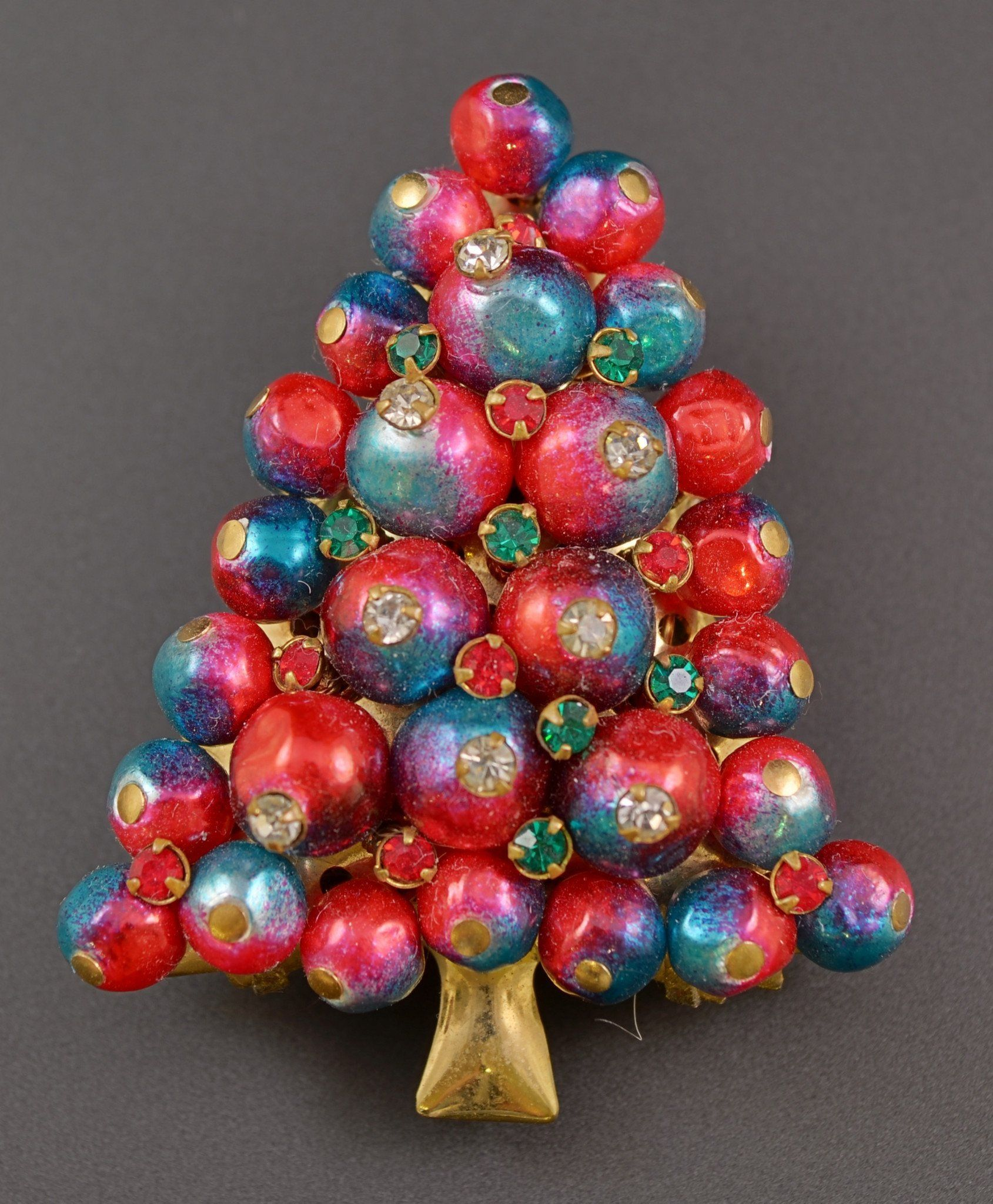 Iodized Red Pearl Bead Christmas Tree Pin