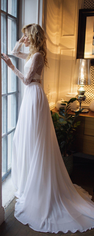 Bridal Separates Top Long Sleeve Tillie Lace Crop With Chiffon Skirt Chiffon Wedding Dress Beach Bridal Separates Tops Long Wedding Dresses [ 3000 x 1200 Pixel ]
