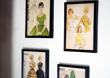 frame vintage pattern envelopes in cheap-spray painted frames or any frame of your choice, then hang on wall.    *great for sewing/craft room, laundry room or chic office! :)