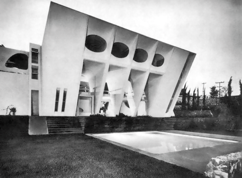 Arq. Agustín Hernández Navarro  -  View of rear facade, Casa Amalia Hernandez, Acueducto 10, Lomas de Santa Fe, Alvaro Obregon, Mexico City 1969-1970