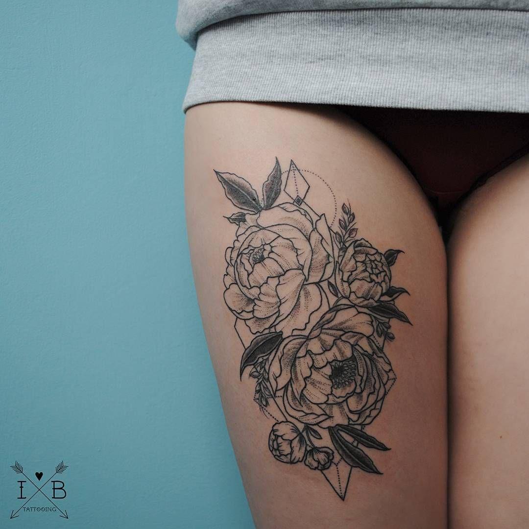 Geometric Flower Tattoo: Peonies Floral Geometric Tattoo By Irene Bogachuk #IB