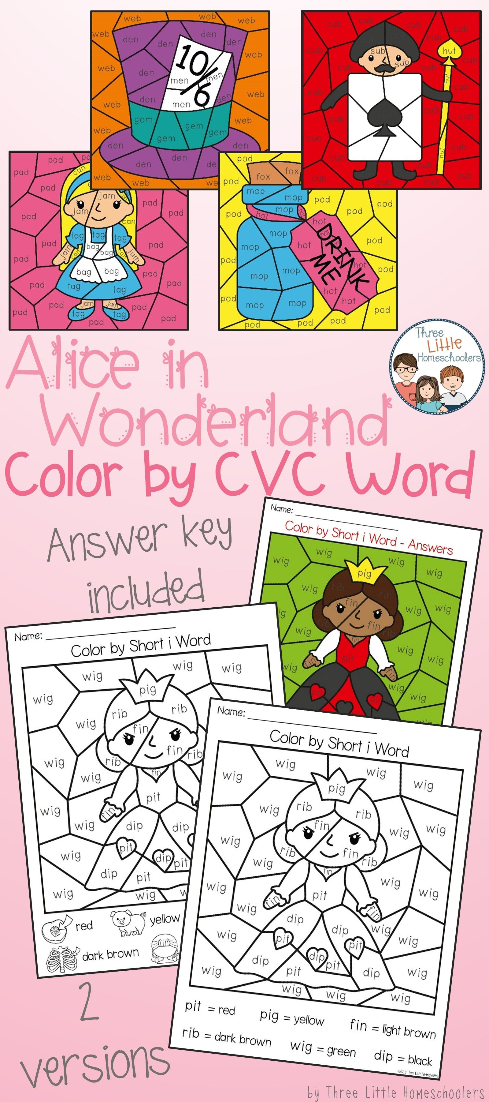 Alice In Wonderland Color By Cvc Word