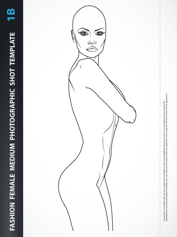 Beachwear Design Fashion Female Drawing Template 5a Croquis