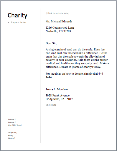 how to ask for charity donations sample letter