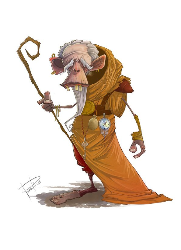 Old Cane Picture  (2d, illustration, cartoon, monk)