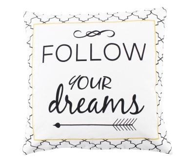 Coussin FOLLOW YOUR DREAMS coton, noir et blanc - 50*50