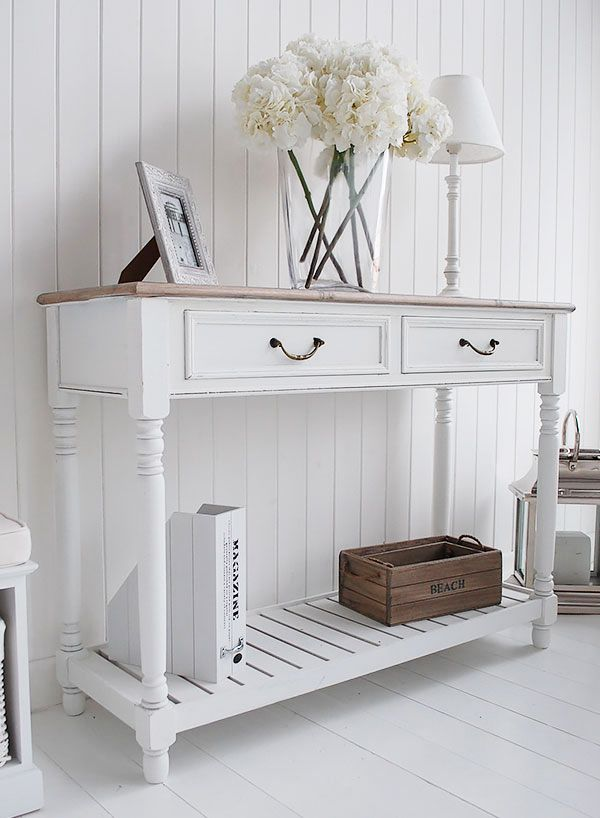 The Provence White Console Table With Shelf And Drawers. Click To Return To  Product Page