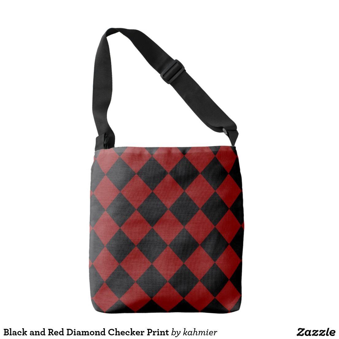 50f6f95ddc168 Black and Red Diamond Checker Print Crossbody Bag   Zazzle.com ...