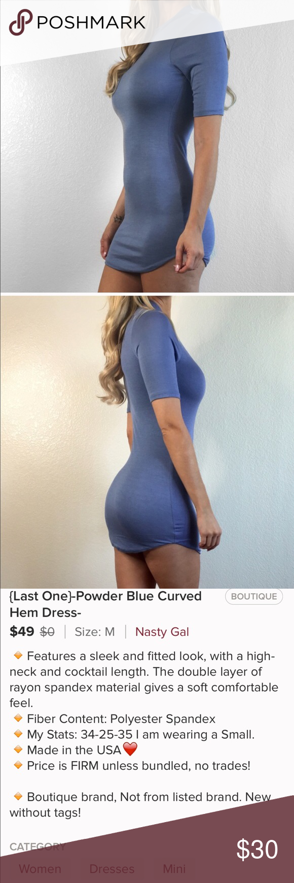 "Blue Short Sleeved Mini Dress From my Retail closet. New without Tags🛍 Please use the ""offers"" button for all offers👍Sorry, I do not trade!❤️ Any questions please feel free to ask below👇 Boutique Dresses Mini"