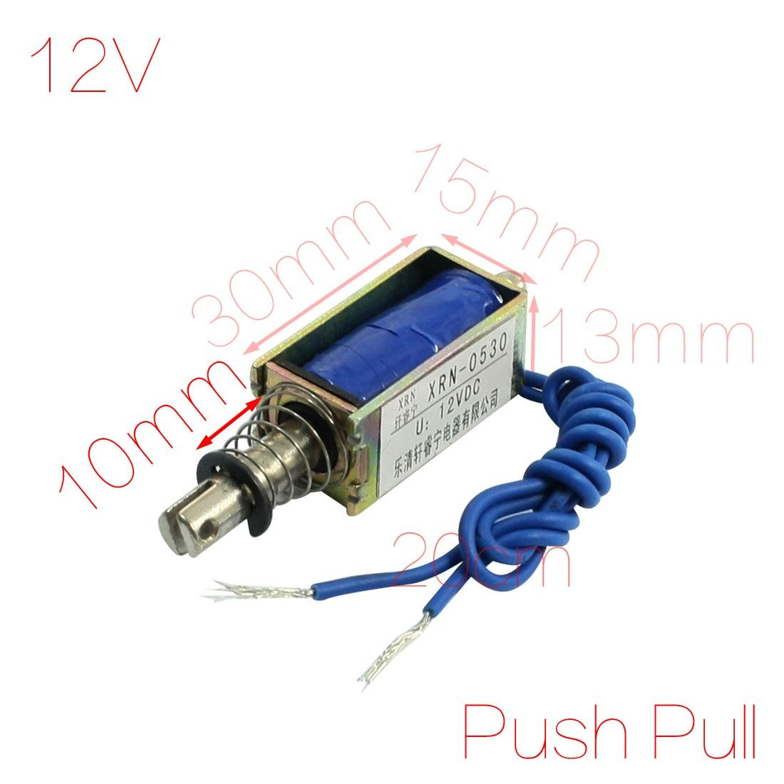 Uxcell 12v 2 1kg Force 10mm Stroke Push Pull Type Electric Solenoid Electromagnet Electromagnet Door Hardware Hardware