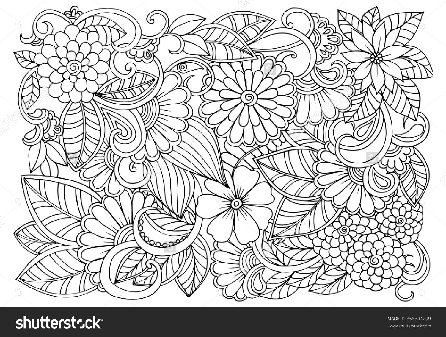 Flower Designs Coloring Pages Doodle Floral Pattern In Black And White Color Print 5 32750