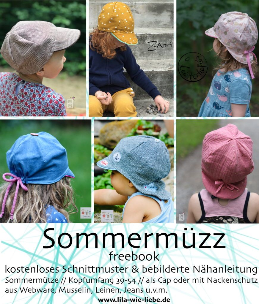 Sommermüzz Freebook – kostenlose Anleitung und Schnittmuster einer Sommermütze für Kinder – Lila wie Liebe – nähen