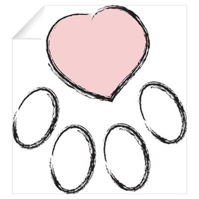 Paw print large with heart