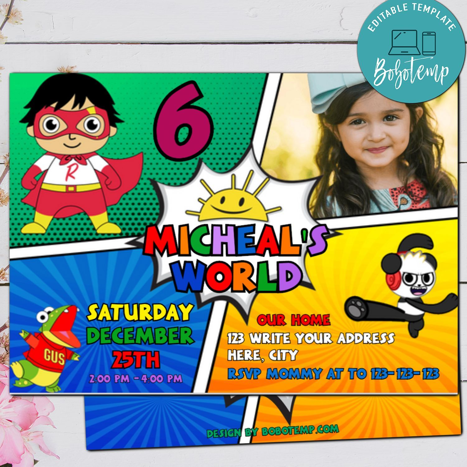 Princess and Ryan/'s World Personalised Party Invitations joint