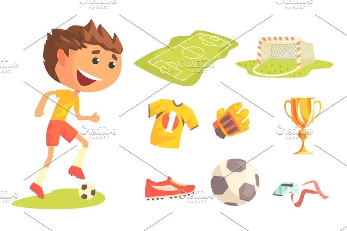 Boy Soccer Football Player Kids Future Dream Professional Sportive Career Illustration With Related To Profession Objects Soccer Boys Future Kids Business Card Logo