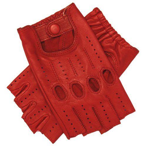 Women's 1/2 Finger Leather Driving Gloves $60