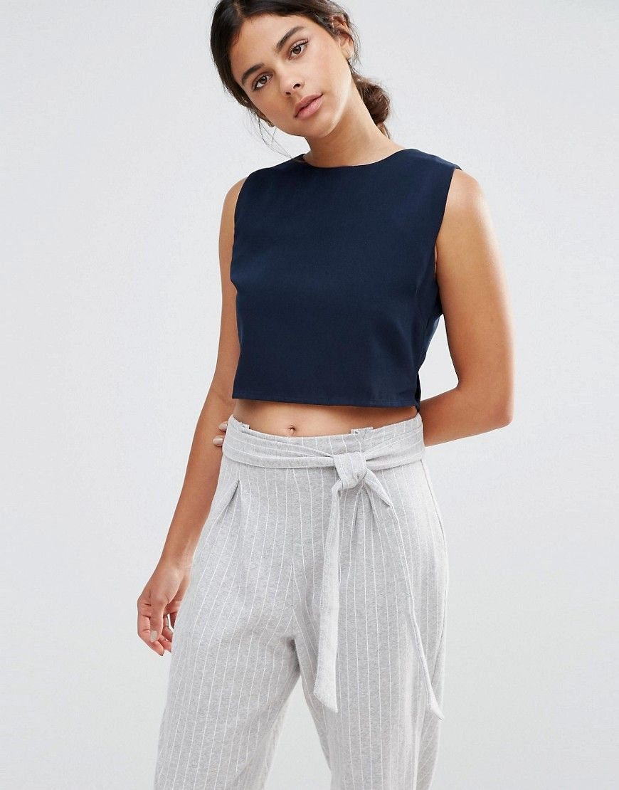 2f12ed55117be7 Buy it now. Native Youth Boat Neck Crop Top - Navy. Top by Native ...