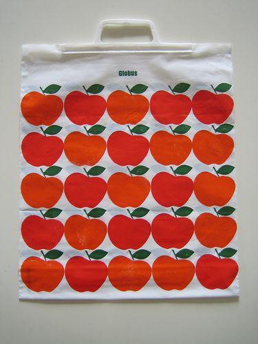 Vintage Plastic Bag Apple Apfel Pomme Globus Plastiksack Sack 70er | von JO JE BIN
