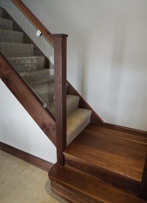 Nice Walnut Staircase With Glass Balustrade