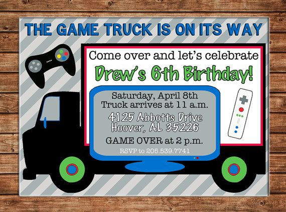 Boy Video Game RV Bus Arcade Birthday Invitation DIGITAL FILE - Birthday invitation video