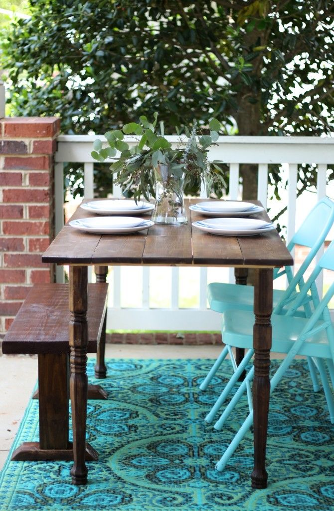 DIY Portable Farmhouse Style Wood Table Diy patio, Diy