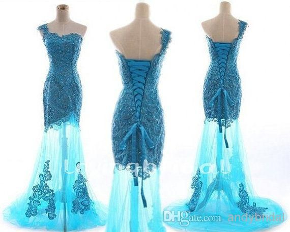 Wholesale Ball Gowns with Corset Back One Shoulder Beaded Appliques See  Through Brush Train Ice Blue Tulle Cheap Mermaid Prom Formal Evening Dresses 73f68b880510