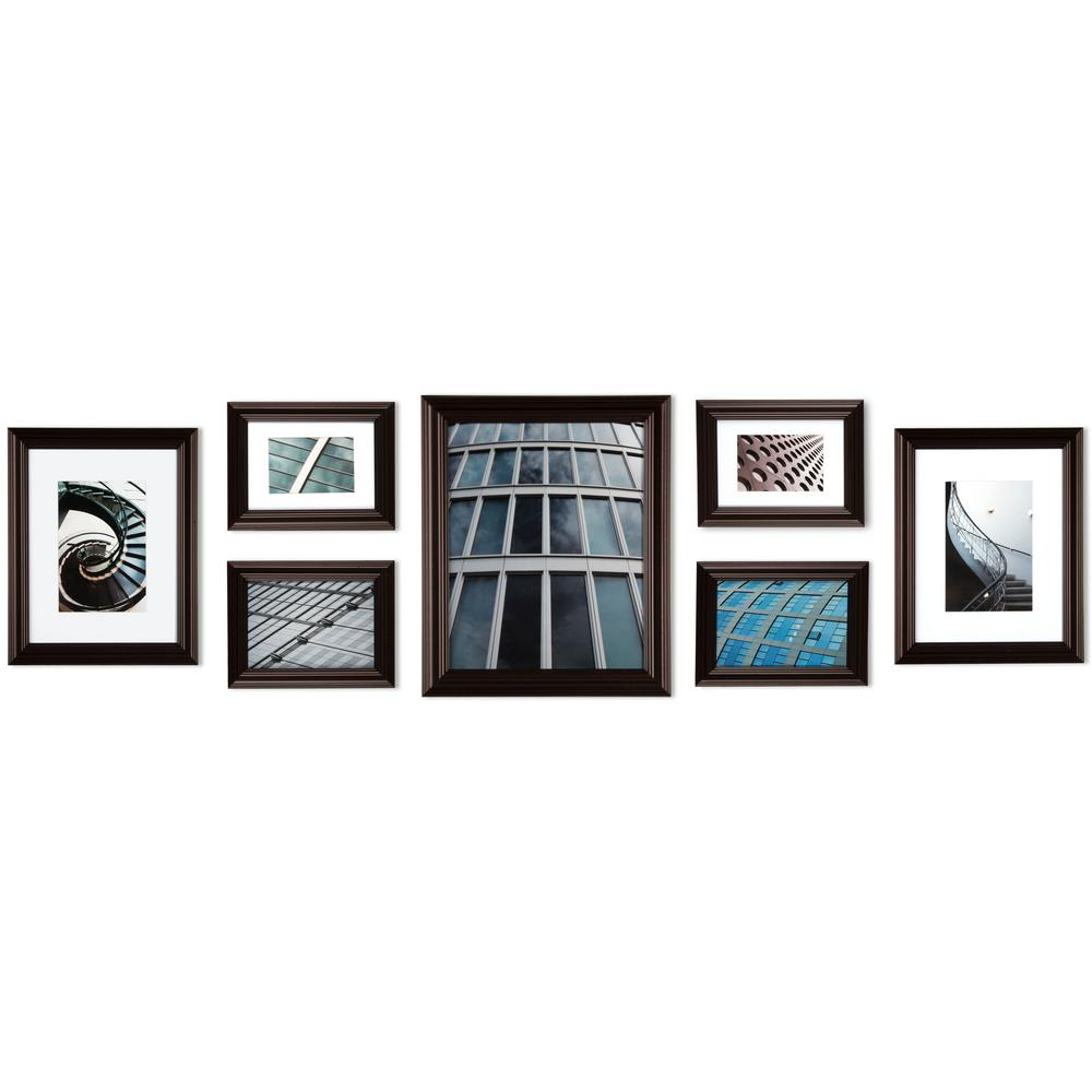 Pinnacle 7 Opening 8 In X 10 In Wall Collage Picture Frame Brown Wall Collage Picture Frames Wall Frame Set Frames On Wall