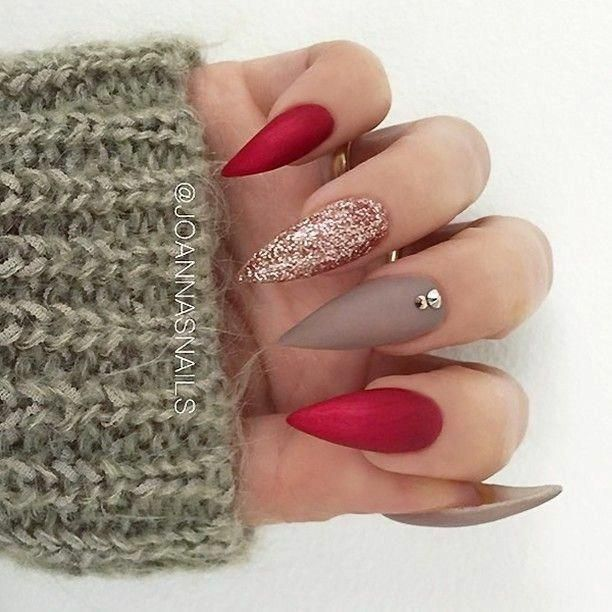 Stiletto Nails Red And Gold Nails Matte Nails Acrylic Nails