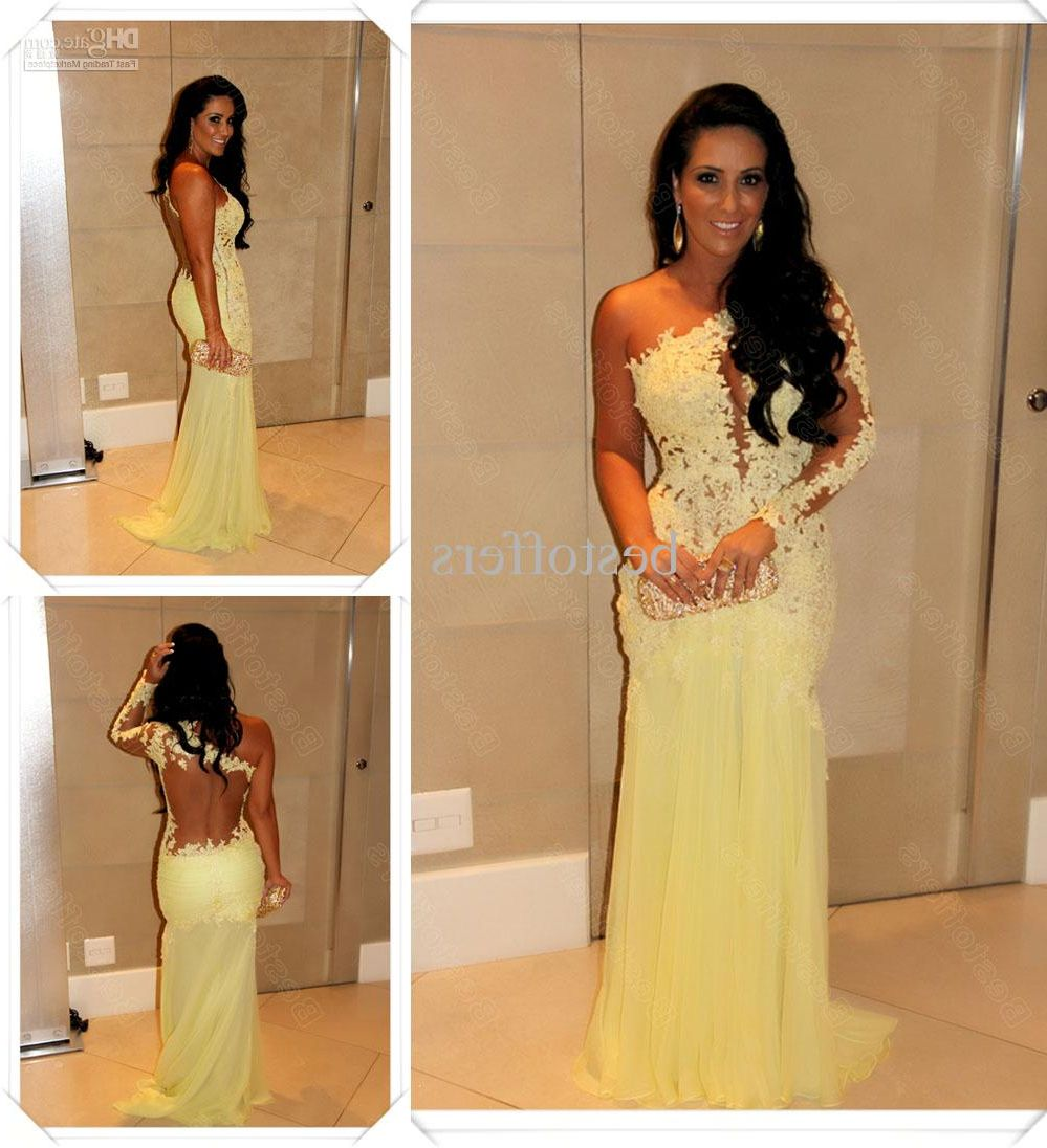 Yellow long sleeve lace prom dress fancy dresses pinterest