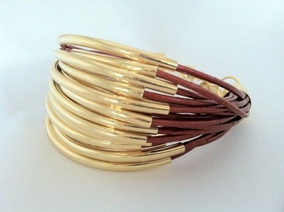 Red Leather Cuff Bracelet with Gold Tubes.