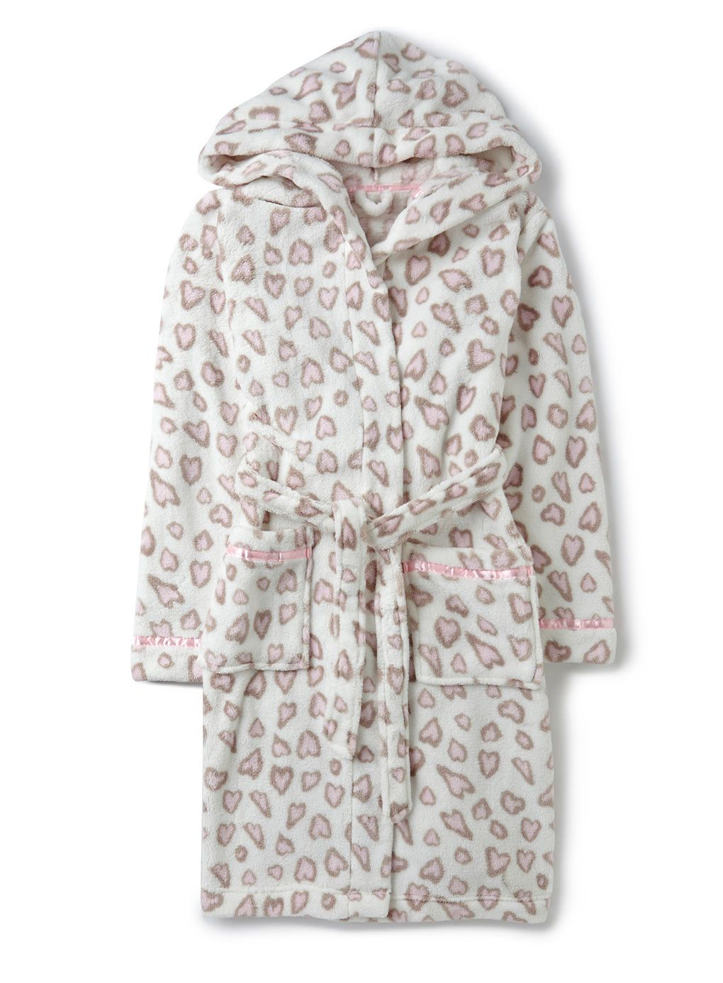 Heart Leopard Print Robe with Hood - robes - older girls (8-16 ...
