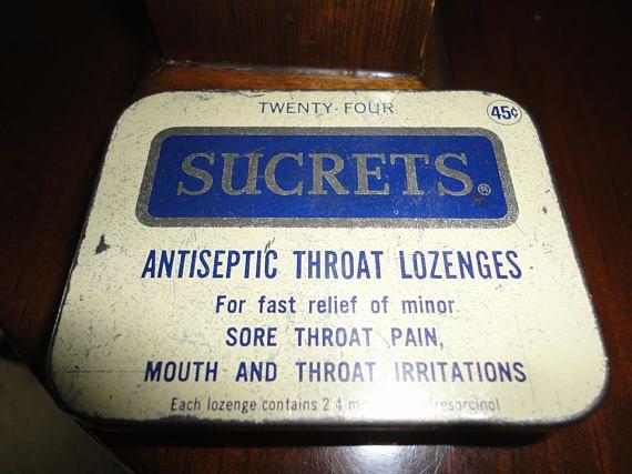 Sucrets Advertisement Tin Antiseptic Medicine Throat