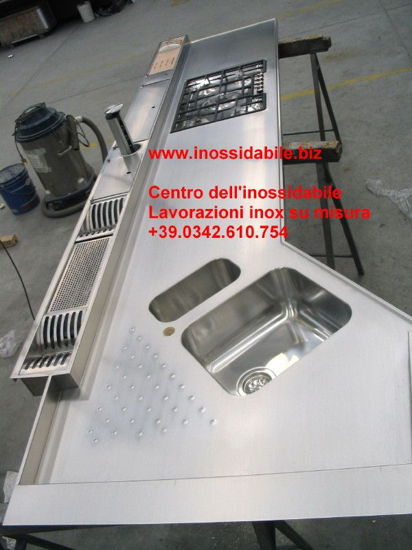 top cucina inox su misura sagomato canale attrezzato customized ...