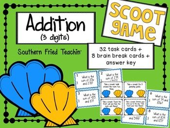 Addition Scoot | 3-Digit Numbers | Find the Sum | Scoot | Task Cards | 32 Problems | 8 Brain Breaks | Problem Solving | NO PREPGet your students up and moving and having fun! But don't tell them that they're learning at the same time!This version of Scoot!