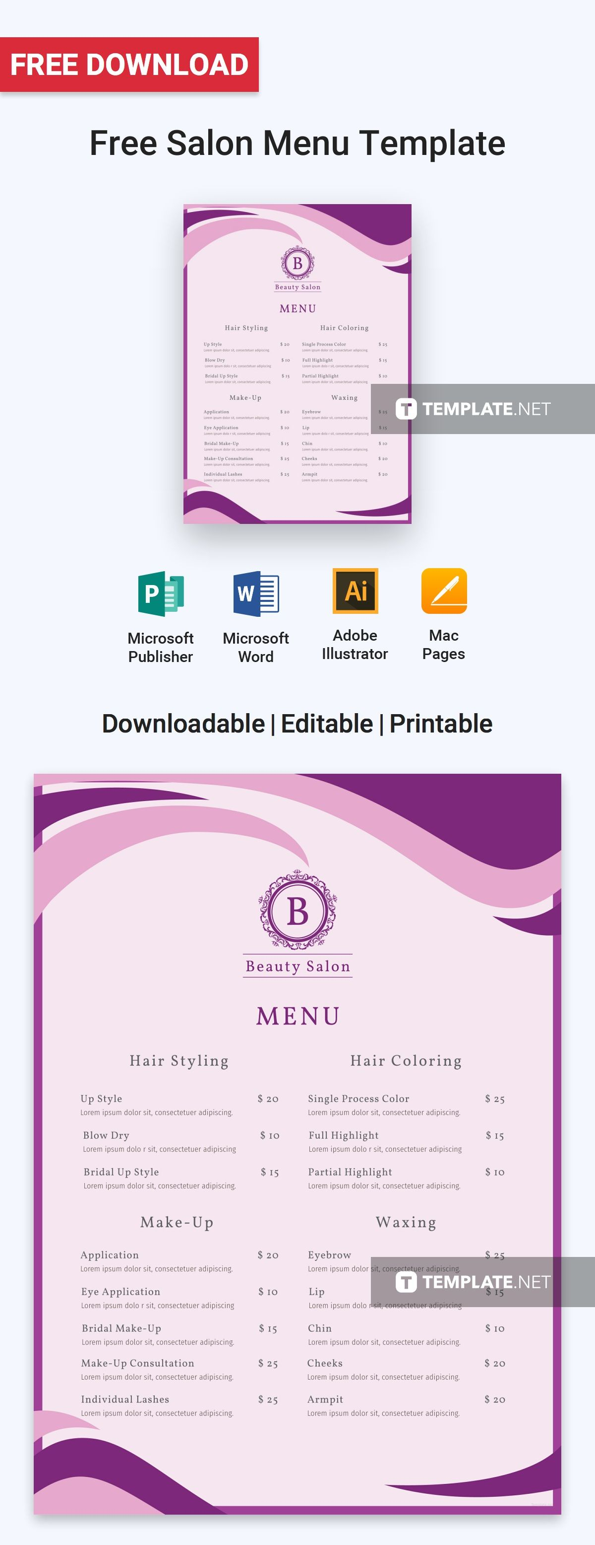 free salon menu menu templates designs 2019 pinterest menu