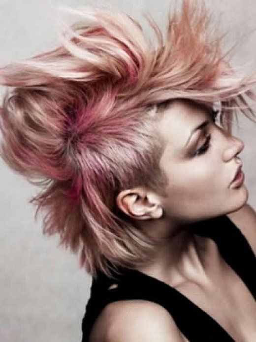 Short Hairstyles : Messy Short Punk Hairstyles For Women With Pink ...