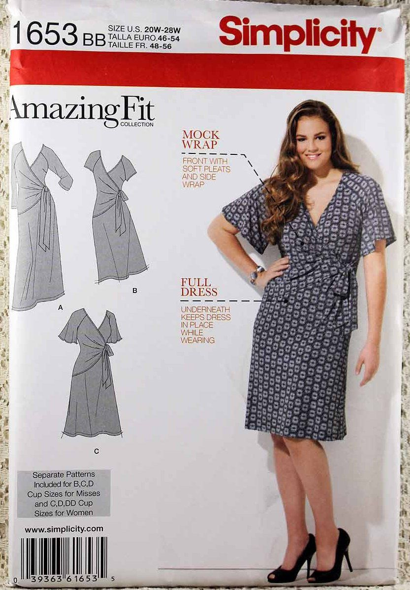 Simplicity 1653, Women\'s Knit Dress Sewing Pattern, Women\'s Size 20W ...