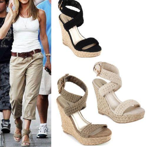 Celebrity Women Wedge High Heels Roman Ankle Cross Strap retro Espadrilles  Shoes