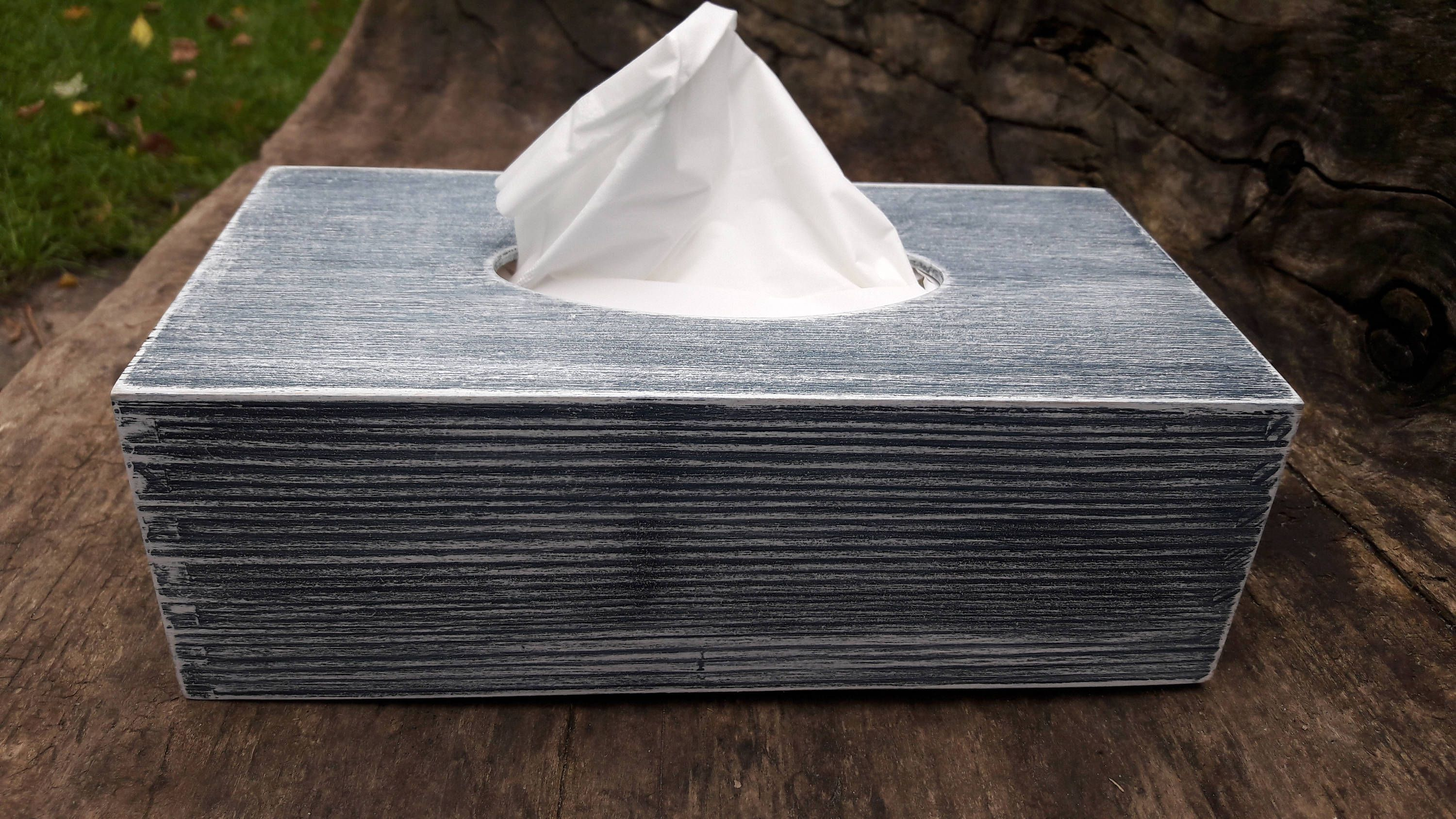 Navy Blue And White Rustic Wooden Tissue Box Cover Nursery