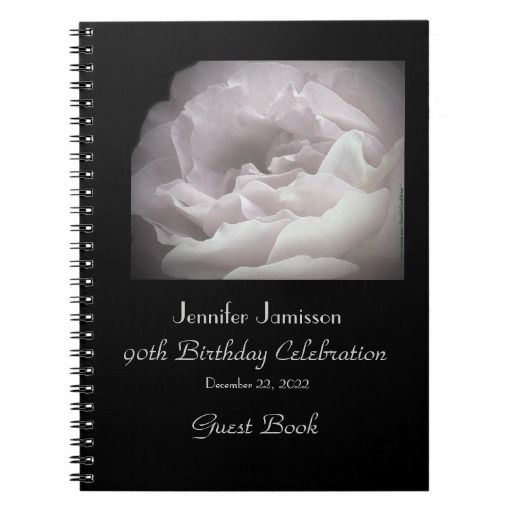 """Birthday Party Guest Book, ANY AGE, Pale Pink Rose - This chic Birthday Party Guest Book is decorated with our original photo of a single ultra pale pink rose. Very classy and elegant! Although default says """"90th Birthday"""", it is easy to customize, just change or delete example text. Original photograph by Alan & Marcia Socolik. All Rights Reserved © 2014 Alan & Marcia Socolik. #GuestBook #MemoryBook #SignInBook"""