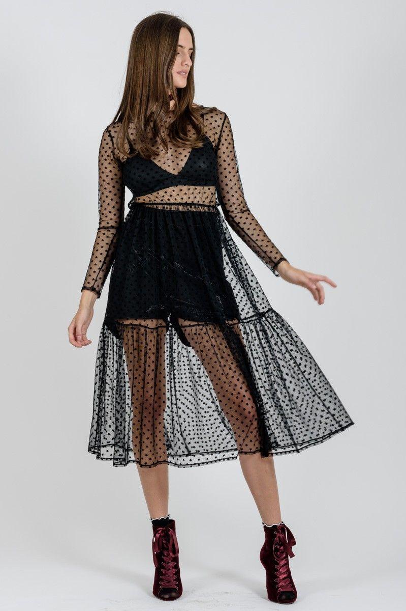 4e4b0fab0067 Μίντι φόρεμα από τούλι με μαύρα αστέρια σε Α γραμμή με μακρύ μανίκι και  βολάν στο