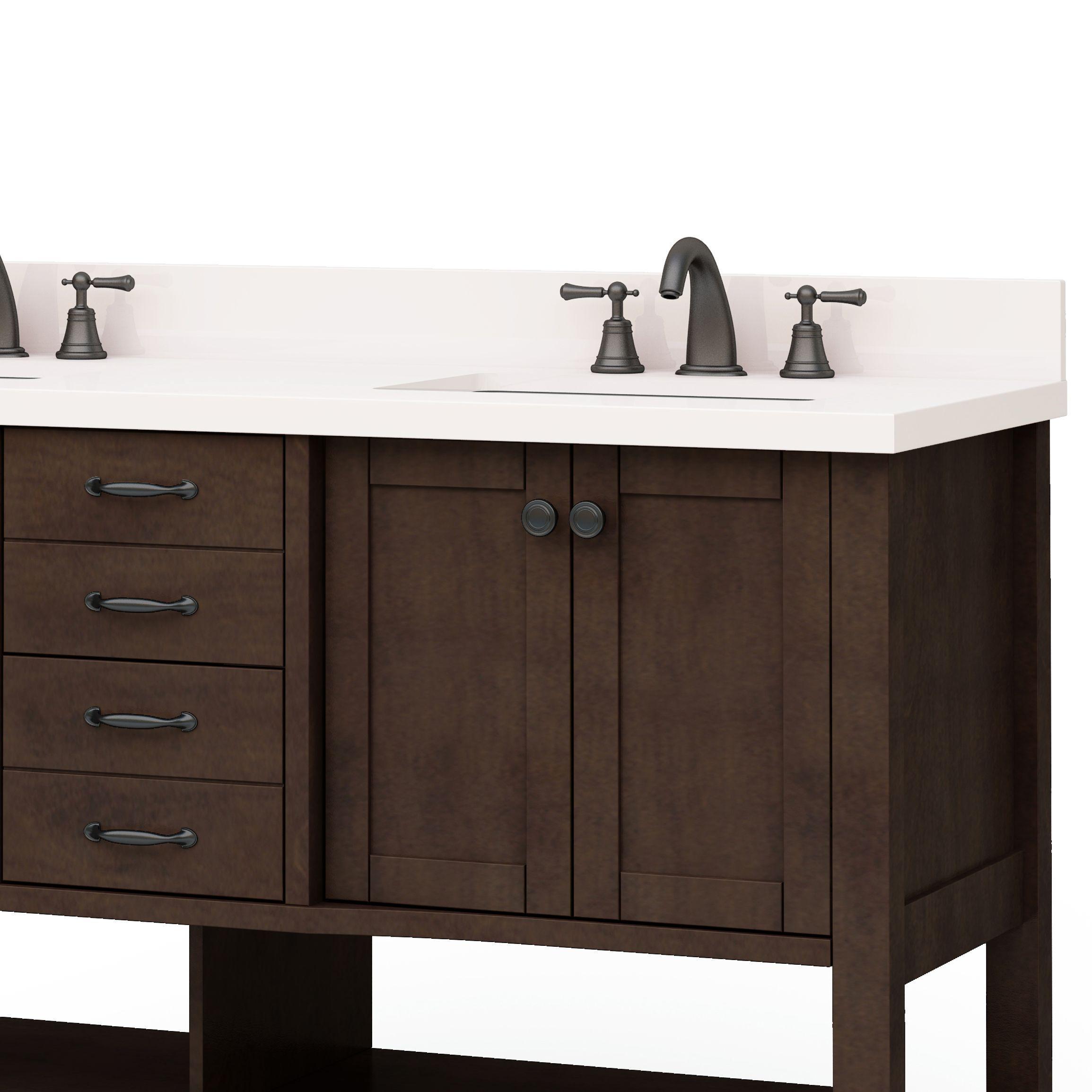 Allen Roth Kingscote 60 In Espresso Double Sink Bathroom Vanity