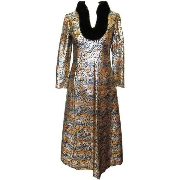 Preowned 1970\'s Malcolm Starr Gold Metallic Brocade Evening Gown ...