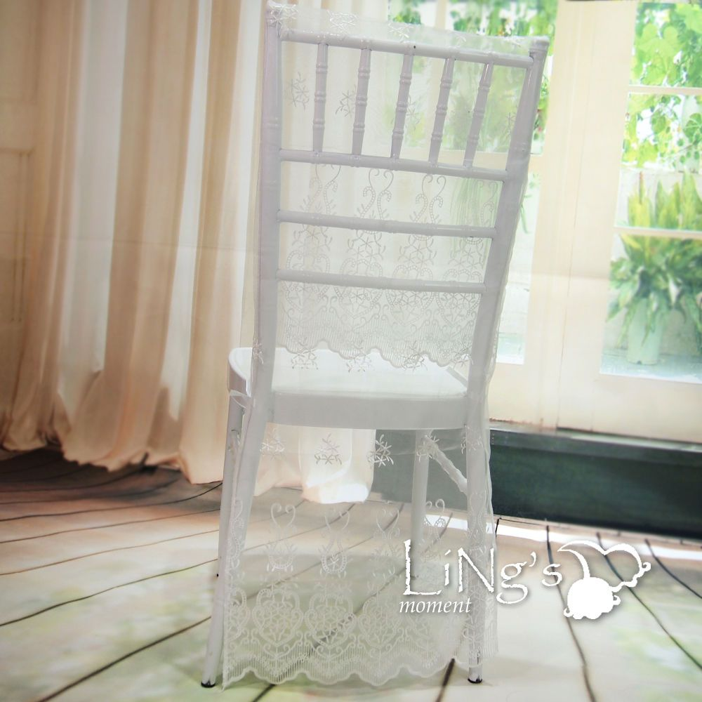 New Organza Lace Embroidery Chiavari Chair Cover Wedding Anniversary ...