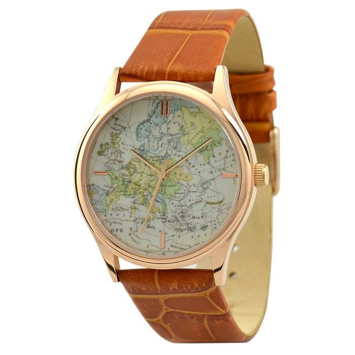 Vintage Map Watch (Europe with stripes)