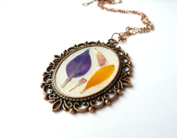 Pressed flower pendant pressed flower necklace real by FloraBeauty, $22.00
