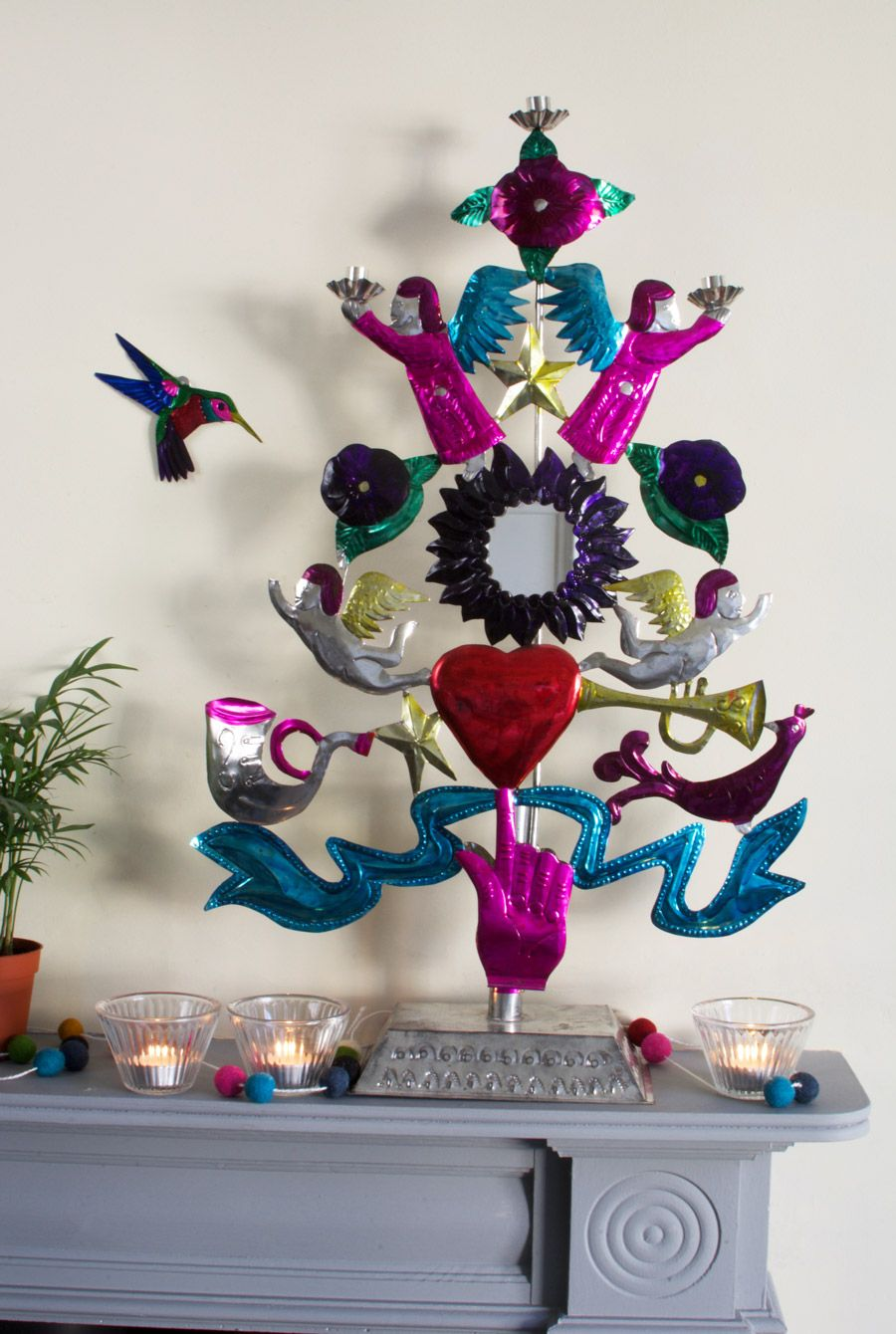 9ba617b65 This Mexican tree of life is handmade and is a real showstopper. This  alternative Christmas tree looks fabulous on a mantelpiece surrounded by ...