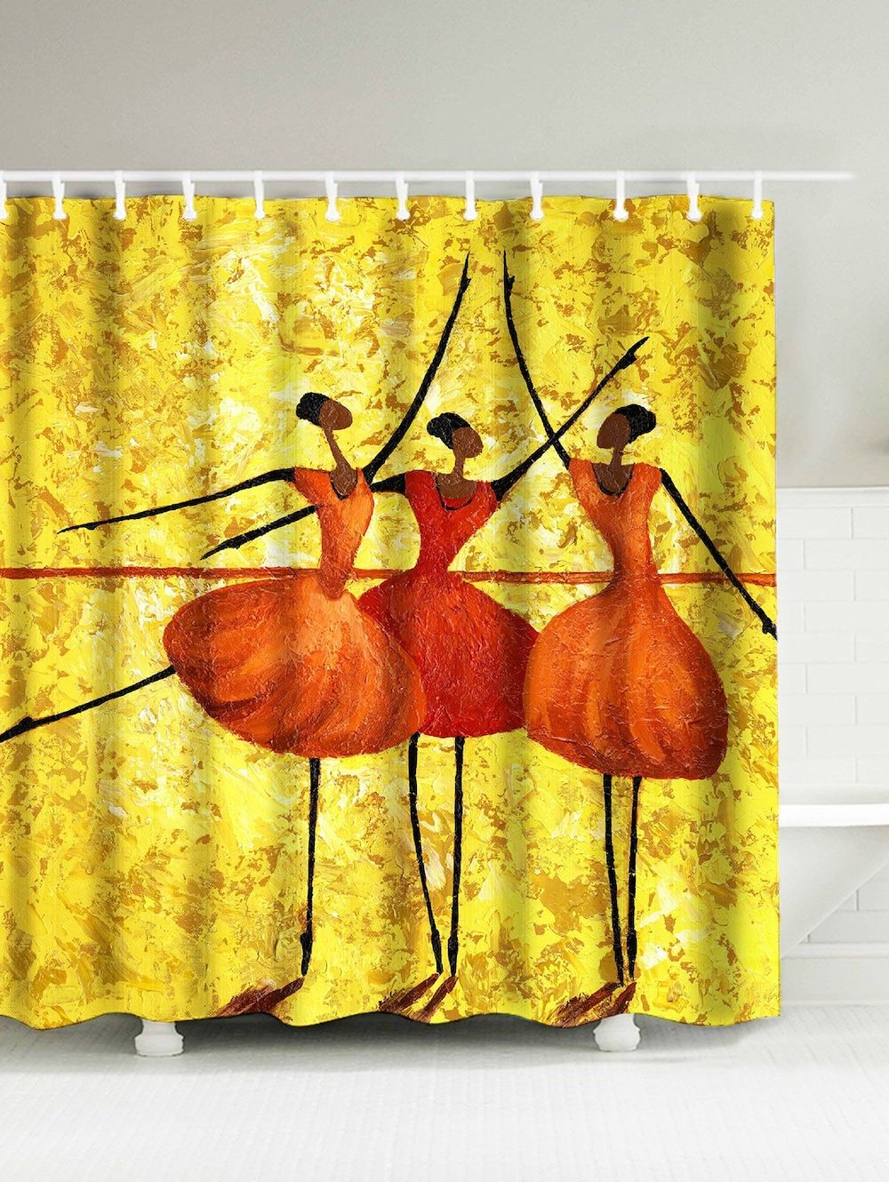Dancing Girls Water Resistant Polyester Afro Shower Curtain Afro